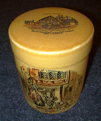 Tea Caddy Crown Devon Fielding Cries of London Jar Staffordshire England (609)