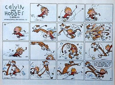 Calvin and Hobbes by Watterson - large half-page Sunday comic - July 19, 1992