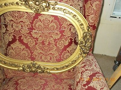 Antique Ornate Wood & Heavy Gesso Oval Antiqued Gold Picture Frame Hold & Glass