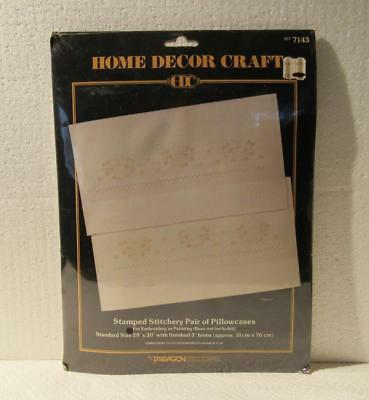New vtg Pair of Pillowcases kit stamped Stitchery Embroidery Home Decor Craft