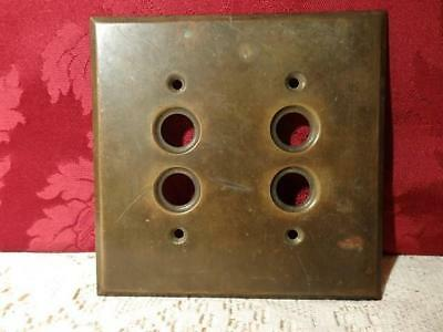 Antique Heavy Brass 4 Hole Push Button Electrical Switch Plate