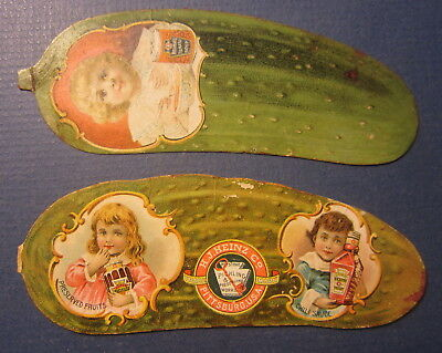 2 Old 1890's - HEINZ - PICKLE - Victorian TRADE CARDS - Figural