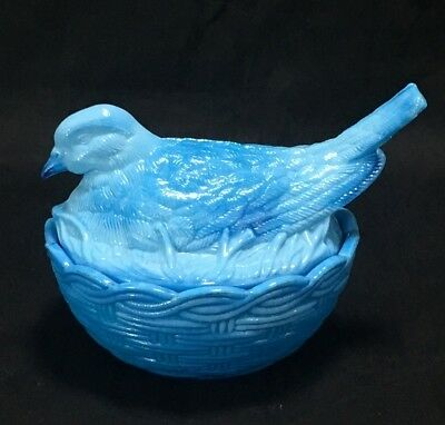 Dove on Nest Blue Slag Glass Milk