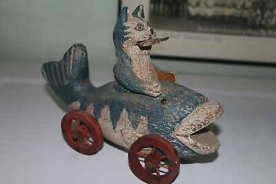 Wood Carving Folk Art Style Cat in Fish Car- Whimsical and Rustic