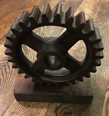 vintage industrial steampunk salvage cast iron gear lamp base metal art old rare