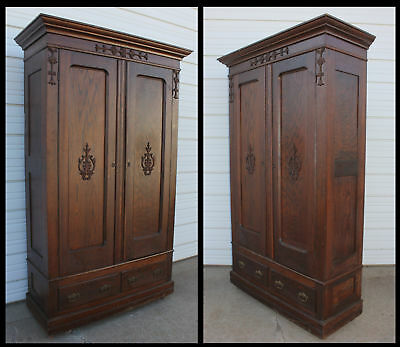 Antique Solid Oak Hand Carved Original Knock Down 2 Door Wardrobe Armoire Closet