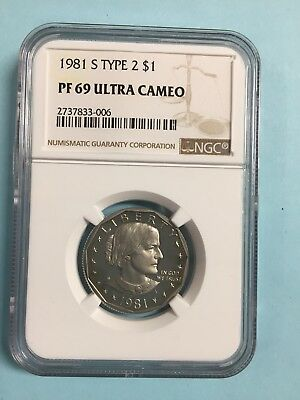 1981 S Type 2 Susan B Anthony (Sba) Ngc Proof 69 Ultra Cameo