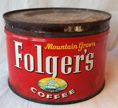Vintage 1960's 1 lb Folger's Mountain Grown Coffee Can Tin Empty Nice Color
