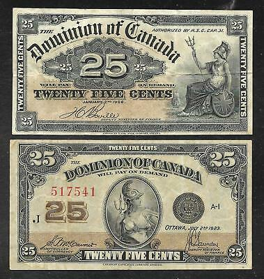 Canada - Two Old 25 Cent Notes - 1900 & 1923 - FINE & VF