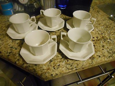 Johnson Bros Set Of Ironstone Octagon Cups And Saucers,10 Pieces