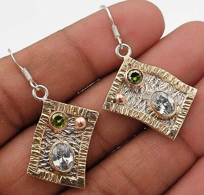 "Three Tone- White Topaz 925 Solid Sterling Silver Earrings Jewelry 1 2/3"" Long"
