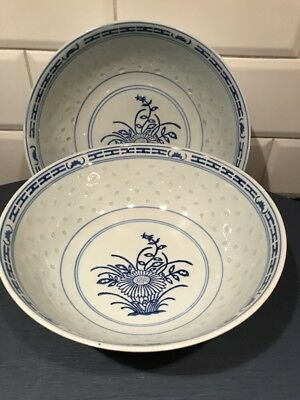"2 Vintage BLUE WHITE ASIAN CHINESE PORCELAIN Large Bowls 8""  RICE GRAIN EYES"