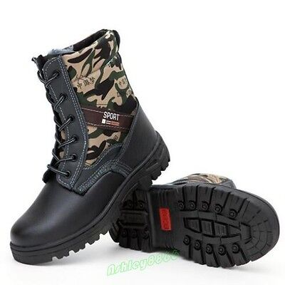 Winter Mens Safety Shoes Military Ourdoor Combat Ankle Snow Boots protective
