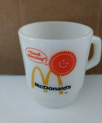 "Fire King McDonalds ""Good Morning"" Coffee Tea Cup Mug Anchor Hocking Collectible"