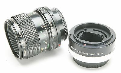 Canon Manual Focus 3,5/50mm FD Macro Lens With Extension Tube 25 For 1:1. EX.