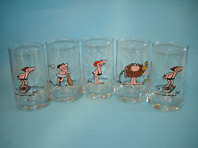 """5 B.C. Comic Strip 5 1/4"""" Glasses Wiley, BC, Grog & Thor - Arby's Ice Age 1981"""