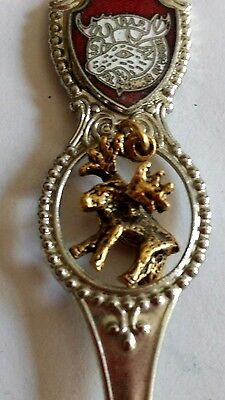 "Vintage P.A.P. Loyal Order Of Moose Souvenir Spoon Moose Charm 4 1/2"" RARE"