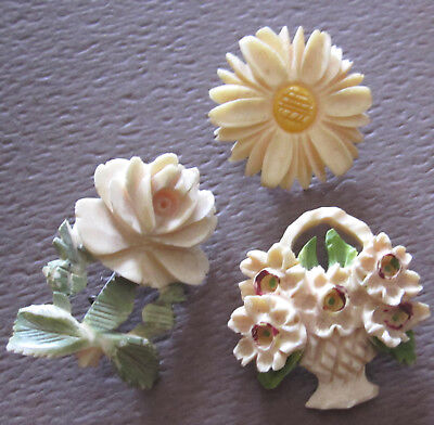 Beautiful Vintage Carved Pin Lot Of 3 Signed Germany Flowers & Flower Pot Cuties