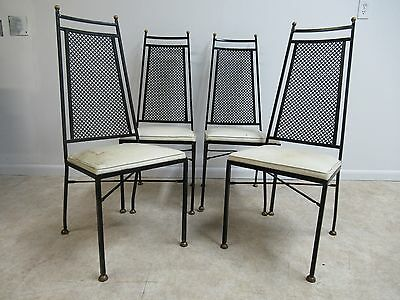 4 Vintage Mid Century Wrought Iron Brass Outdoor Patio Porch Dining Room Chairs