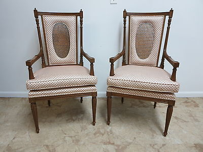 Pair Vintage French Regency Carved Fireside Lounge Arm Chairs Louis XV Pecan