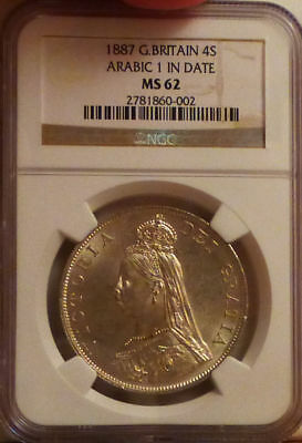 British Great Britain UK 1887 Large Silver Double Florin (4 Shillings) NGC MS 62