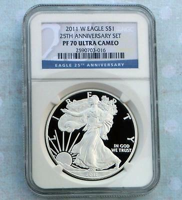 2011 W NGC Proof 70 Ultra Cameo Silver Eagle $1 from 25th Anniversary Set