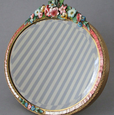 """Fabulous Antique 17"""" English BARBOLA Oval Mirror w Stand FLOWERS Ribbons c1920s"""