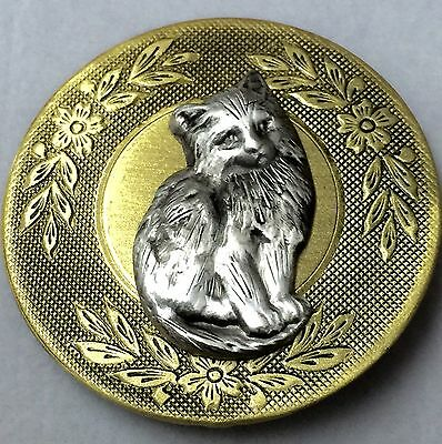 """LARGE VINTAGE AND ANTIQUE BRASS BUTTON~Cute Kitten Or Cat Picture Button~1 1/2"""""""