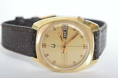 1974 10k ROLLED GOLD PLATE BULOVA ACCUTRON DAY DATE WRISTWATCH WATER RESISTANT