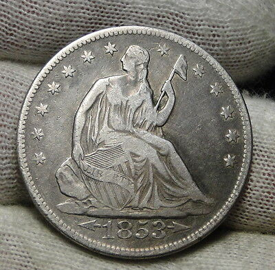 1853 Seated Liberty Half Dollar 50 Cents. Nice Coin Free Shipping  (6371)