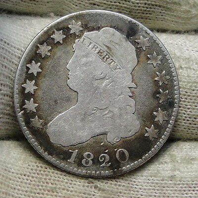 1820 Capped Bust Quarter 25 Cents -  Key Date, Nice Coin, Free Shipping. (6085)