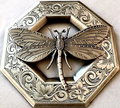 """SUPER LARGE 3"""" INCH DRAGONFLY PICTURE BUTTON ON STAMPED BRASS~Antique & Vintage"""