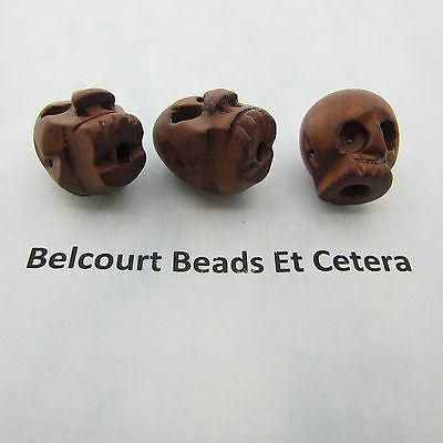5 Very Cool Goth Style Natural Date Wood Skull Beads 24x16mm in Size