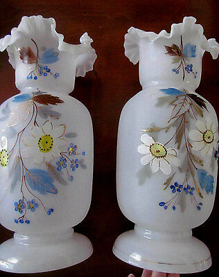 Pair~1890s Antique Bristol Glass Tall Vases~Hand Painted Flowers Gold Decoration
