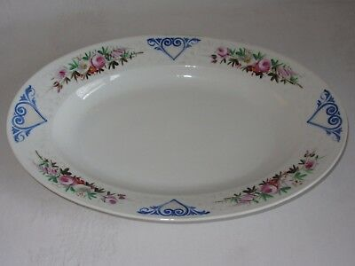 Large Vintage Serving Platter Oval White Ceramic Hand Painted Flowers Hearts