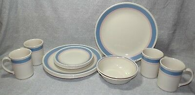 CORELLE CORNING 17p LOT COLONIAL BLUE DISHES DINNER BREAD PLATES BOWLS CUPS x17