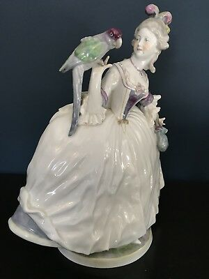 Antique German Porcelain Lady Parrot Volkstedt Figurine Meissen Dresden Figure