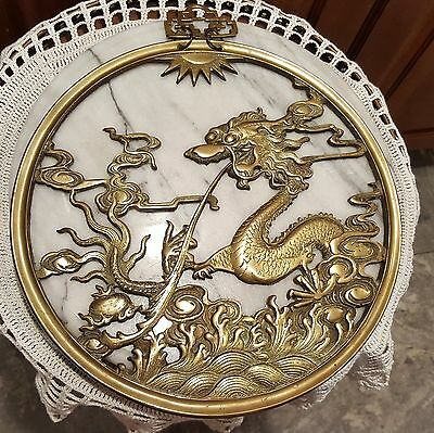 """Large heavy Beautiful Ornate Brass Plaque 12"""" Dragon Serpent Flowers Over 3 lbs"""