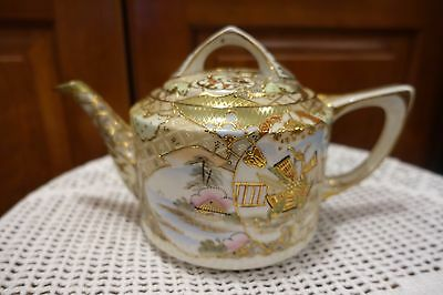 """Beautiful Ornate Oriental Antique Teapot  Hand Painted Scenes Man  Signed 10""""x7"""""""