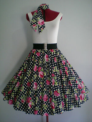 "ROCK N ROLL/ROCKABILLY ""Spots & Roses"" SKIRT & SCARF M-L Navy/White/Pink."