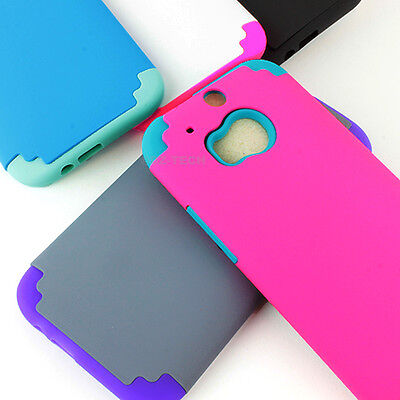 For HTC One M8 / One 2 2014 Shockproof Armor Rubber Matte Hard Phone Case Cover