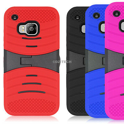 For HTC One M9 Shockproof Rugged EXO Stretch Hybrid Hard Phone Case Cover Stand