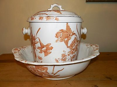 FURNIVALS FLORAL IRIS & DAISY IRONSTONE CHAMBER SLOP POT w/BASIN BOWL & STRAINER