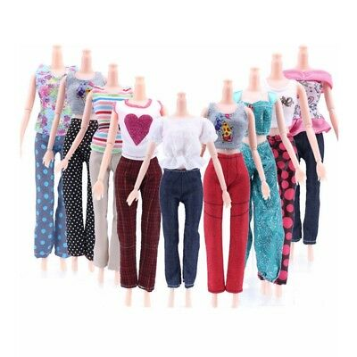 Fashion Girl 5 Tops + 5 Pants Gift Casual Summer Clothes Outfit for Barbie Doll