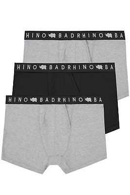 Mens 3 Pack Badrhino Grey Marl & Black Elasticated A Front Boxers Extra Large L