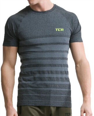 TCA SuperKnit Engineered Mens Short Sleeve Running Top - Grey