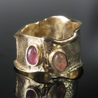 Multicolour Turmalin Silber Sterling 925 Ring Gr.52  Silberring Gold 999 Unikat