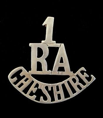 Ww1 1.r.a Cheshire Shoulder Title White Metal