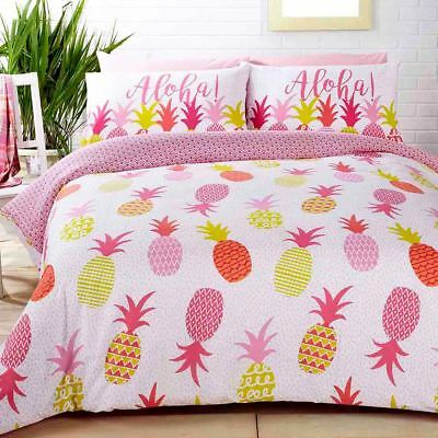 Tropical Pineapples Double Duvet Cover Set Pink - 2 In 1 Design