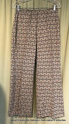 Funky Vintage 60's Olive Green Floral Polyester Pull-On Pants W 28 to 38